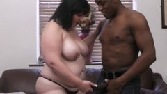 BBW In Fishnets Swallows Black Tool At Work
