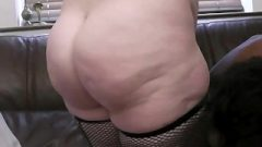 Busty Chick In Fishnets Rides Black Rod