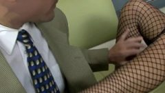 London Banged On A Couch In Fishnet Stockings