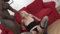 Blonde Mature In Fishnets Gets Her Butt Filled With Spunk