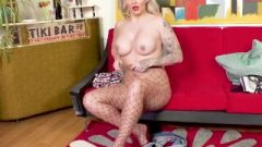 Naughty Busty Blonde Rockabilly Chick Louise Lee Strokes In Fishnet Pantyhose