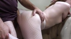 White Fishnet Footjob With Grease Then Cunt Fuck