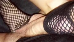 Amateur Footjob #46 Racy Fishnet Sock Ballbusting, Enormous Sperm In Socks