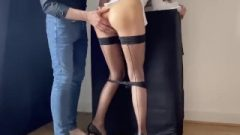 Starved Educator In Fishnets & Heels Bangs Scholar & Lets Him Spunk On Her Ass-Hole