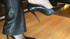 Stiletto Court Shoes Leather Trousers Sexy Tight Tights (dangling Popping)